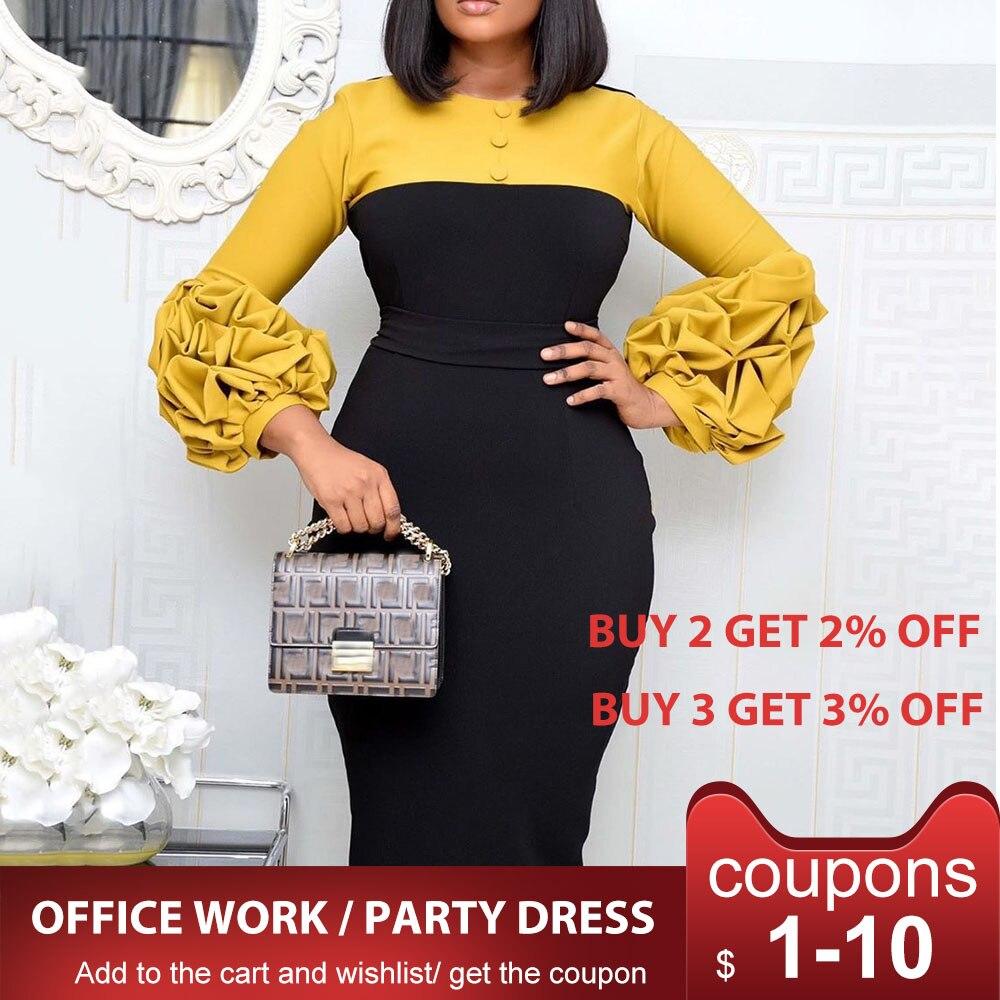 Puff manga mujer vestido de retales otoño 2020 vestido ajustado elegante oficina trabajo de dama midi vestidos femme vestidos de talla grande 4xl