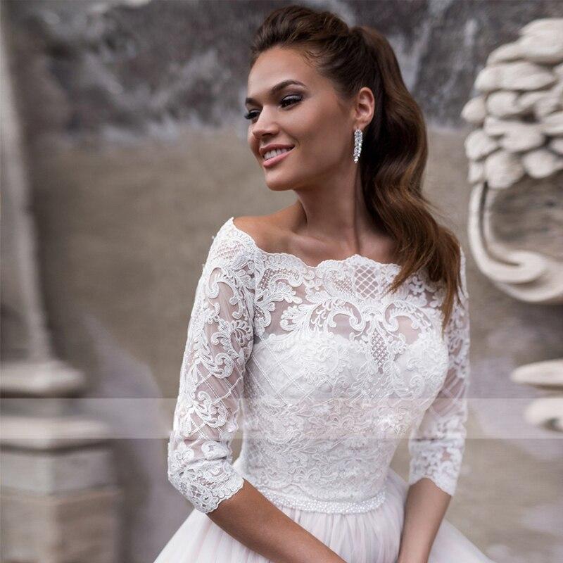 انفصال قطعتين فستان زفاف دانتيل صديرية دائرية مع 7 نقاط كم سترة سحاب خط فستان زفاف أنيق حجم كبير مخصص