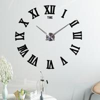 Large Wall Clock Modern Design Acrylic Mirror Decorative 3D DIY Wall Sticker Clocks for Living Room Decor