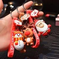 fashion merry christmas keychain decoration santa claus elk snowman key chain new year pendant children gift hot sale 2020