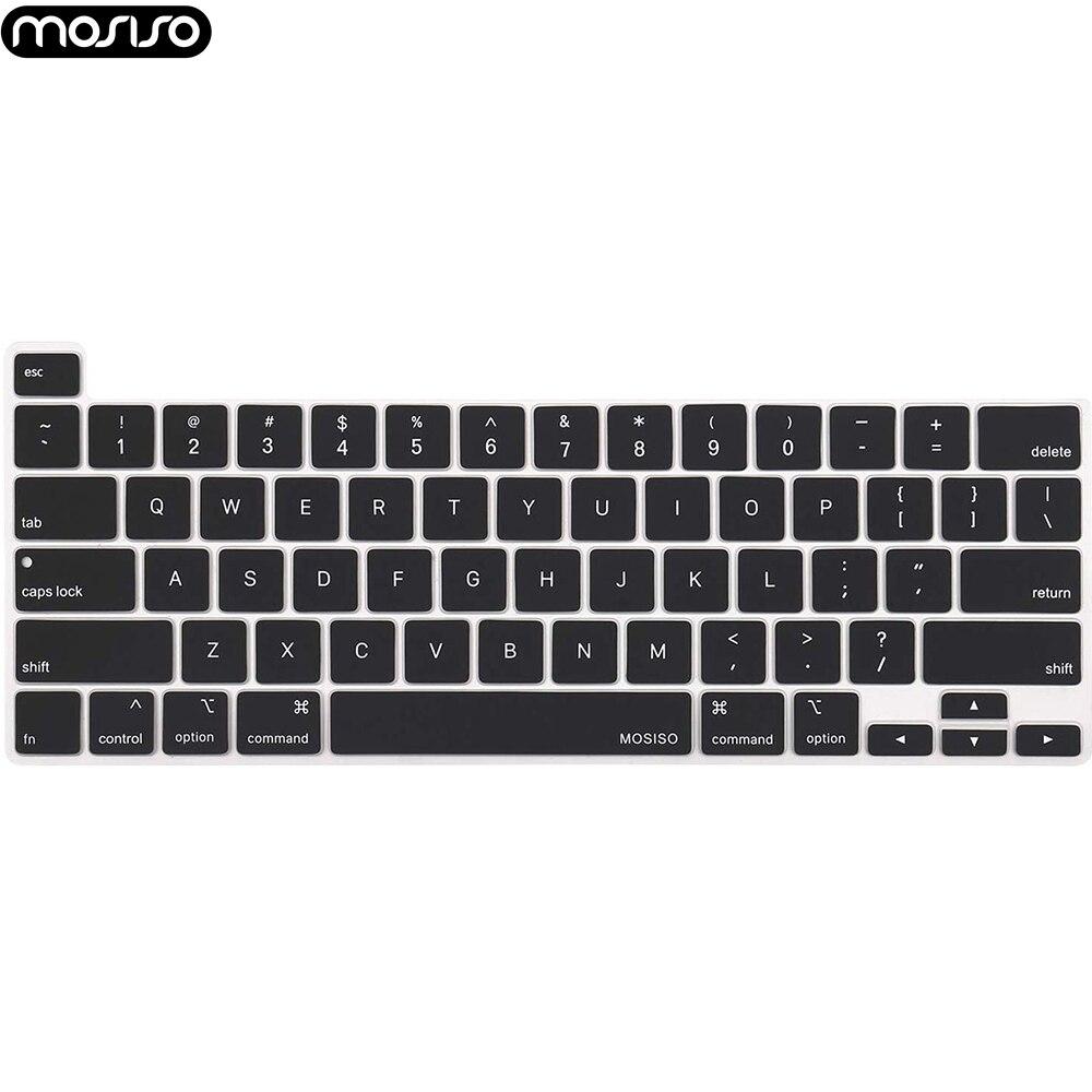 Mosiso venda quente preto silicone teclado capa para macbook pro 16 polegada a2141 barra de toque transparente claro protecter filme ue/eua