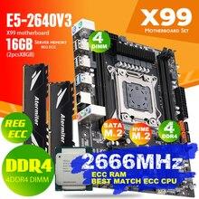 Atermiter X99 D4 DDR4 ensemble de carte mère avec Xeon E5 2640 V3 LGA2011-3 CPU 2 pièces X 8GB = 16GB 2666MHz DDR4 REG ECC mémoire vive