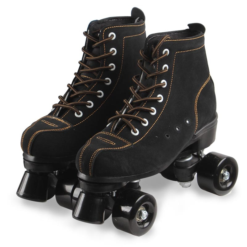 2021 Girls Flashing Women Artificial Leather Adult Quad Roller Skates Skating Sliding Sneakers 4 wheels Beginner Gym  Beginner