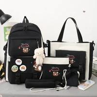 kawaii five piece female mochila female student light and sweet backpack large capacity casual canvas school bag teenage girls