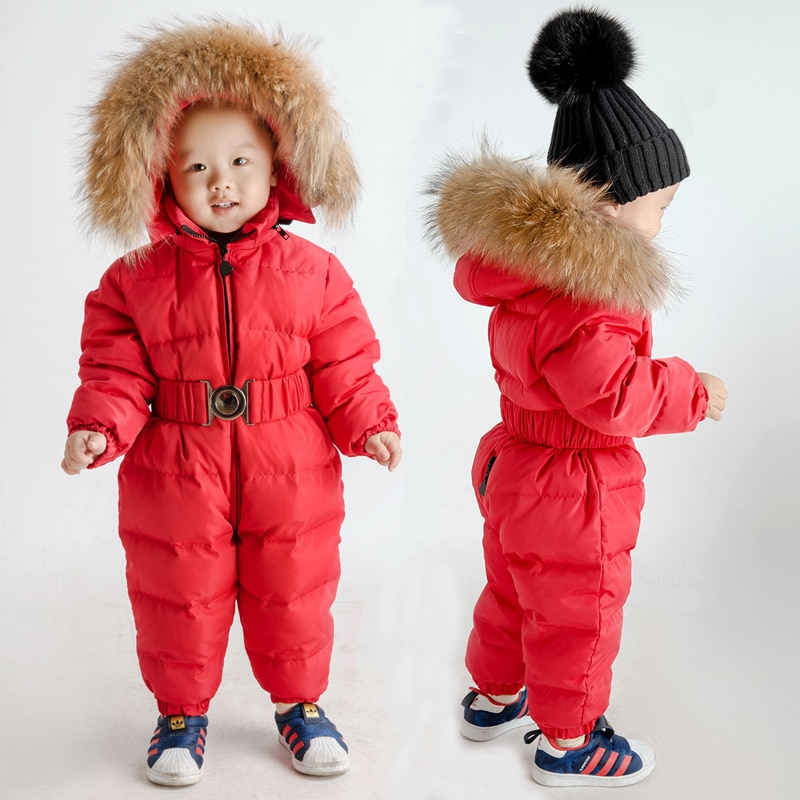 Winter Warm Baby Girls Rompers Down Fur Hooded Boys Jumpsuits Outdoor Children Overalls Onesie Toddler Snow Clothes -10 degrees enlarge