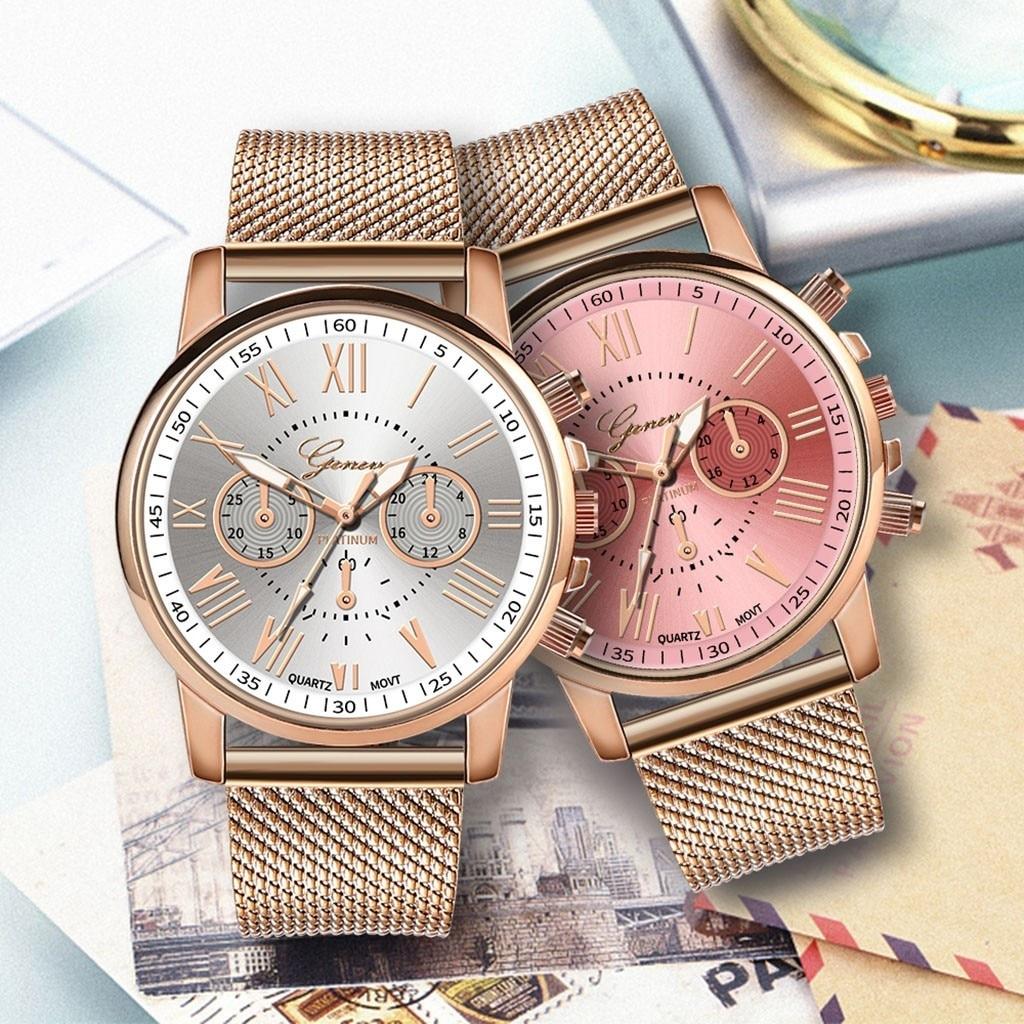 ساعة نسائية فستان سوار فولاذي غير قابل للصدأ تناظرية كوارتز ساعة يد موضة فاخرة للسيدات ذهبي وردي ذهبي ساعة تناظرية