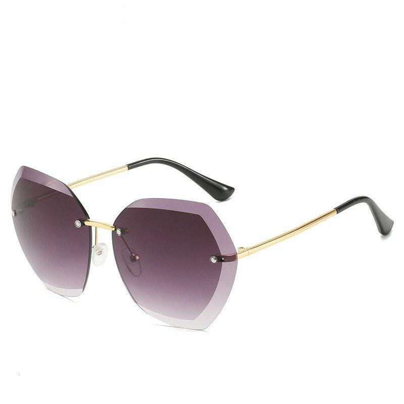 2020 moda piloto sem aro óculos de sol feminino design da marca retro vintage corte lente gradiente óculos sol feminino uv400