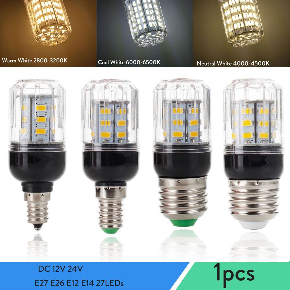 DC 12V 24V E27 E26 E12 E14 светодиодный кукурузный светильник лампы 9W 27 Светодиодный s супер яркий настольные лампы Точечный светильник s для дома Осве...