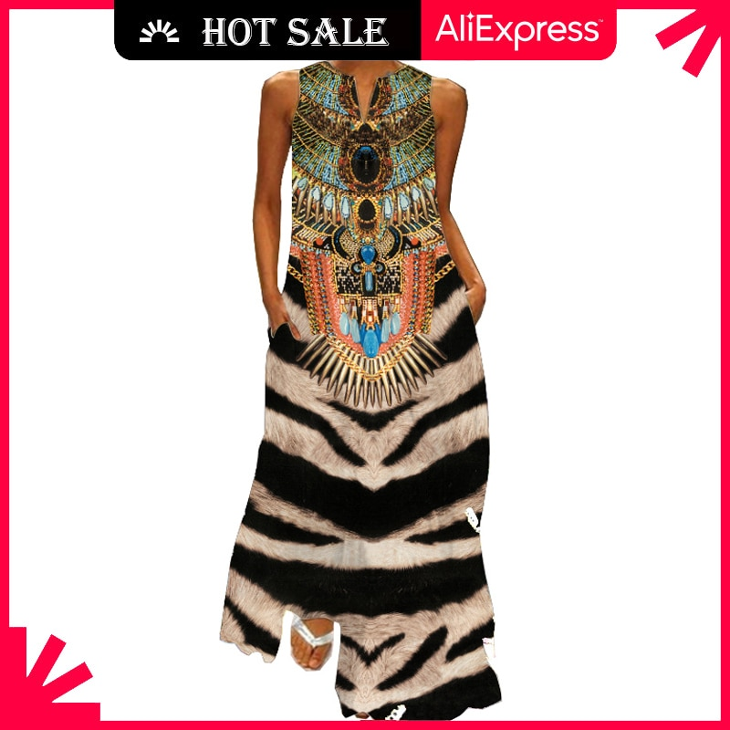 MOVOKAKA Vintage Tiger Print Dress 2021 V Neck Casual Plus Size Long Dresses Summer Woman Sleeveless