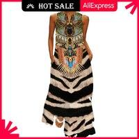 Винтажное платье MOVOKAKA с принтом тигра 2021, повседневные праздничные длинные платья с V-образным вырезом, летнее женское пляжное макси-платье ...