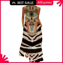 MOVOKAKA Vintage Tiger Print Dress 2021 V Neck Casual Plus Size Long Dresses Summer Woman Sleeveless