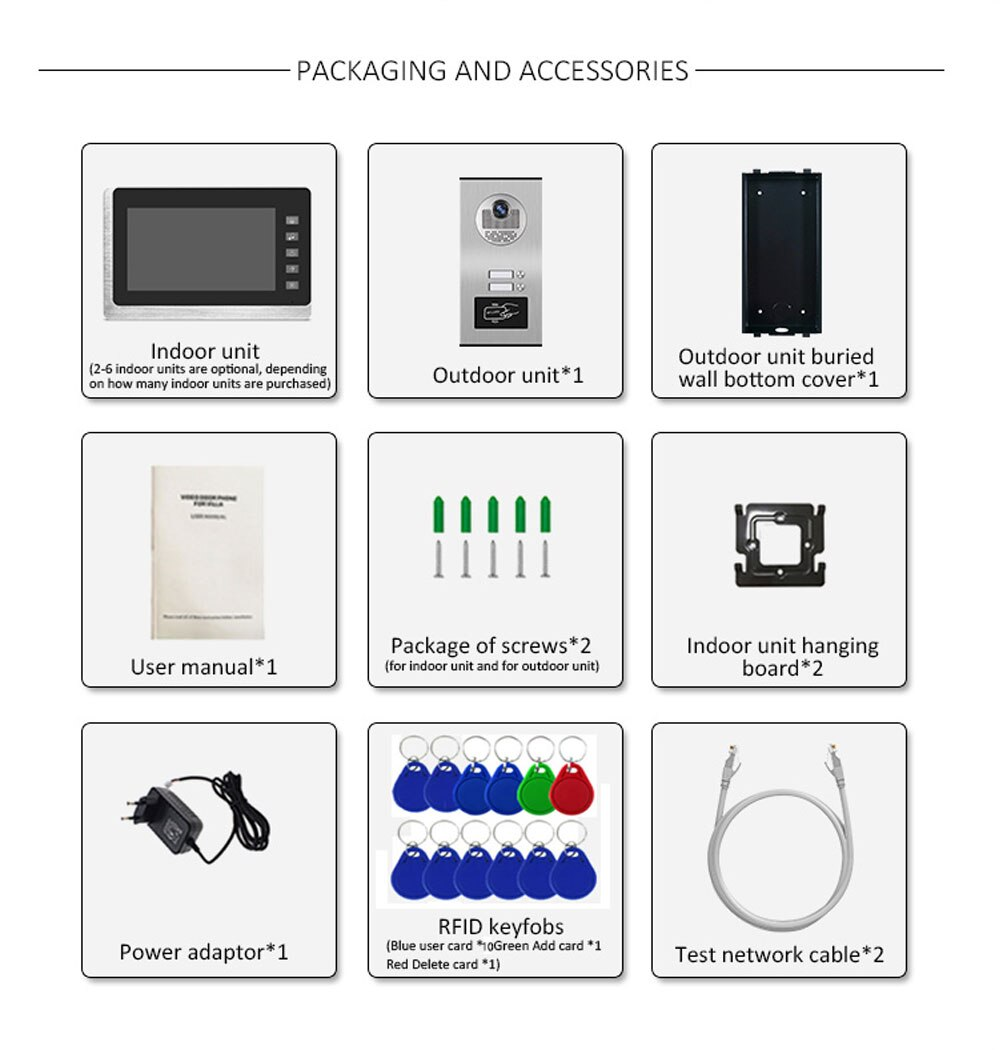 7 inch Wired  Video Door Phone intercom System RFID Access Outdoor Camera Apartment Video intercom System 2 Monitors enlarge