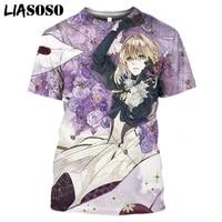 liasoso 3d print t shirts japanese anime violet evergarden men women streetwear popular short sleeve t shirts harajuku oversized
