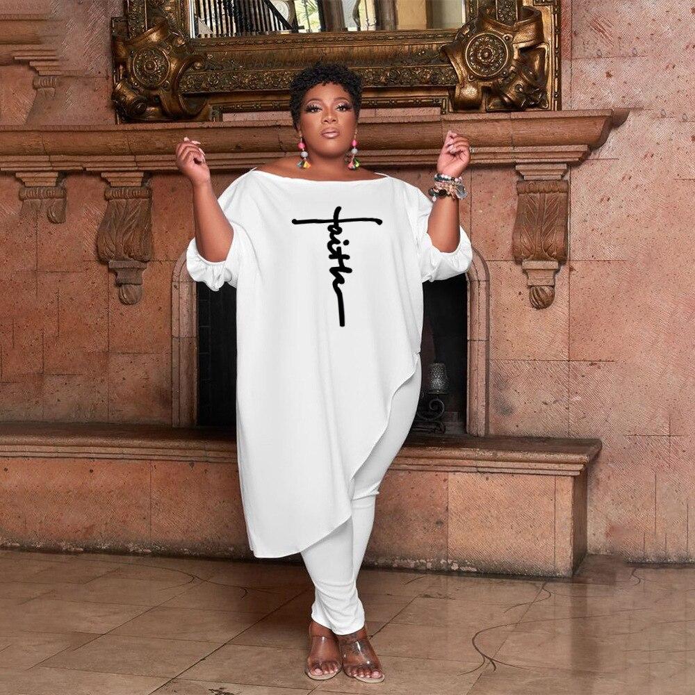 Комплекты ChocoMisty-LadyPlus больших размеров, брюки с косым плечом и буквенным принтом, 6610