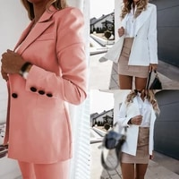 autumn new ladies solid color suit jacket urban casual suit lead long sleeved single hat pure cotton slim small suit jacket top