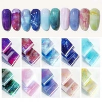 10 designs holographic nail foils star rainbow sky marble shining nail art transfer stickers diy manicure design