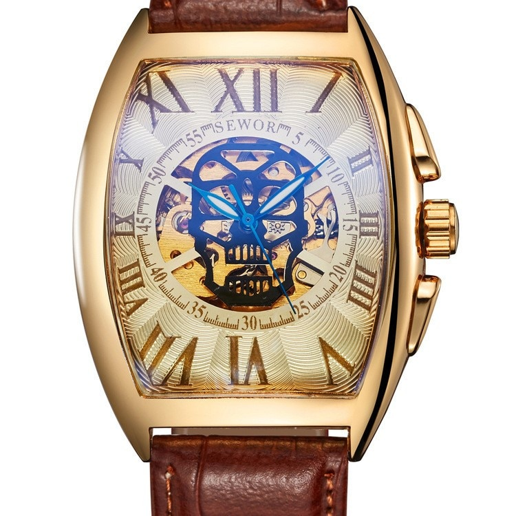 Watches For Men Square hollow Top Brand Luxury tonneau Automatic Tourbillon sport Watch leather Busi