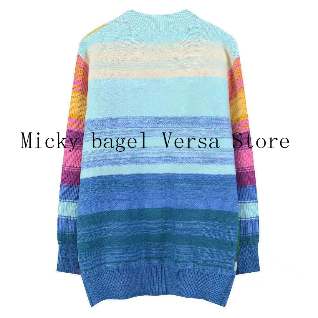 21 luxury design heavy industry embroidery stripe women's long sleeve top temperament loose round neck knitted sweater Pullover enlarge