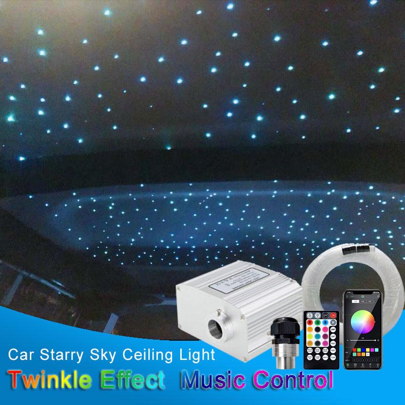 سيارة LED مصابيح داخلية النجوم أضواء السقف السماوية اكسسوارات السيارات مصباح سقف نجمة الألياف البصرية ضوء وميض تأثير تحكم بالموسيقى