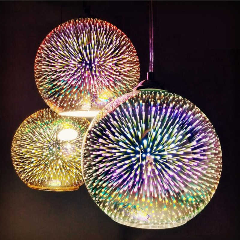 Светодиодный подвесной 3D светильник «звездное небо», стеклянный шар, фейерверк, абажур, лофт, Ресторан, Бар, ресторан, кухня, Подвесная лампа