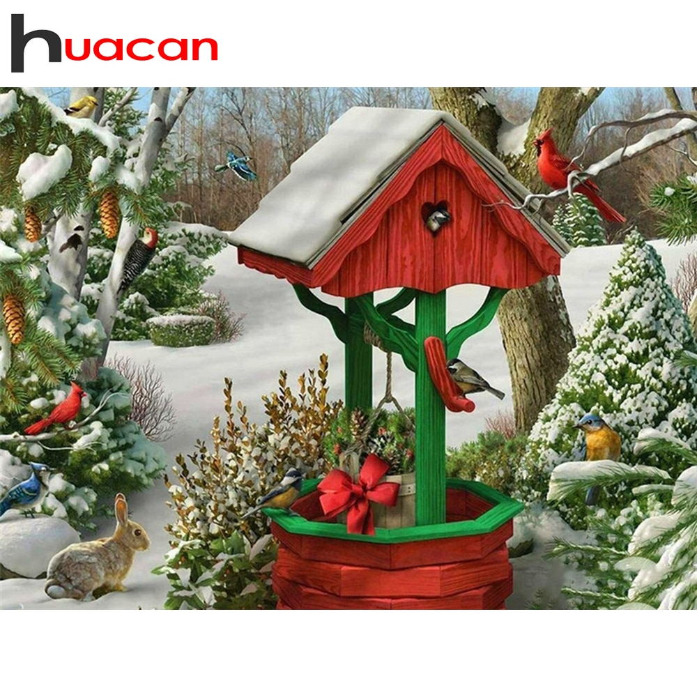 Huacan Full Drill Diamond Mosaic Well Winter Diamond Embroidery Painting Bird Landscape Picture Of Rhinestones Wall Decoration