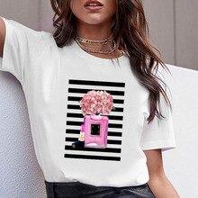 Kadın kıyafetleri baskı çiçek parfüm şişesi tatlı kısa kollu gömlek baskılı kadın gömlek T kadın T-shirt üst rahat kadın Tee
