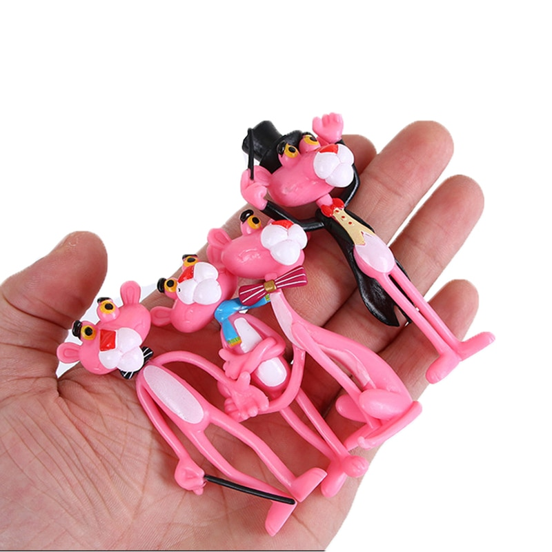 New 4pcs/lot Action & Toy Figures Pink Panther Cute Doll Micro Landscape Decoration Cartoon Naughty Leopard Model For Child Gift new design turquoise blue panther leopard bracelets