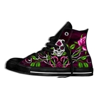 vintage womens canvas shoes skull head print ankle shoes casual outdoor sport sneakers punk rock shoes ladies mujer zapatillas
