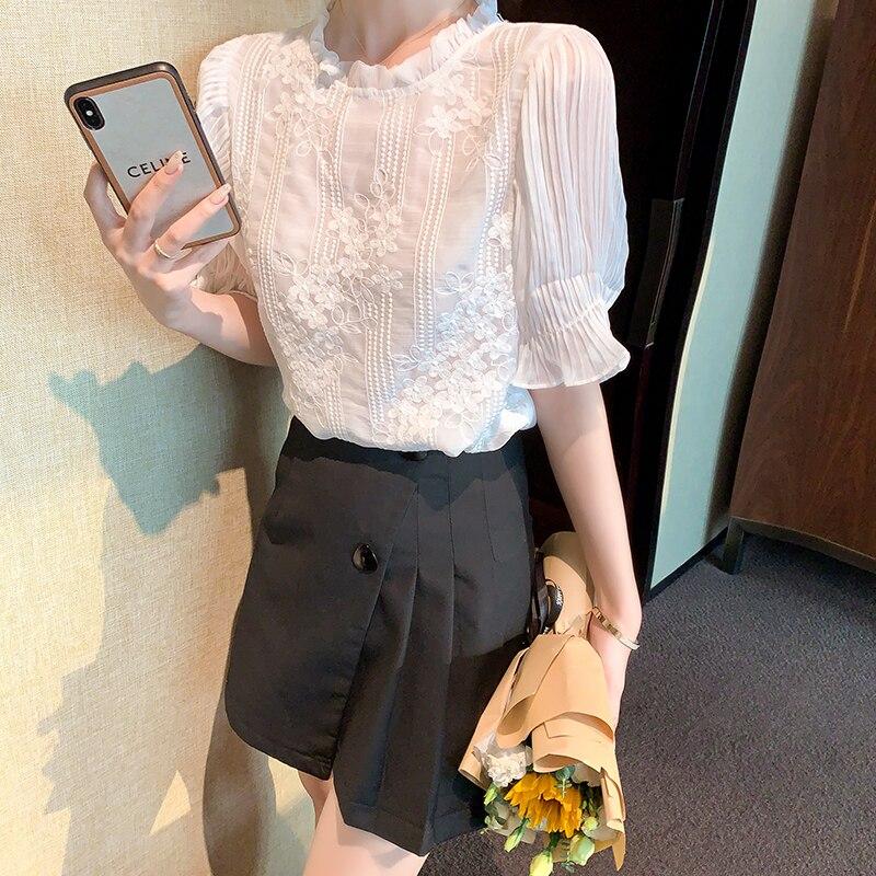 women white chiffon shirt short sleeve blouse 6250#