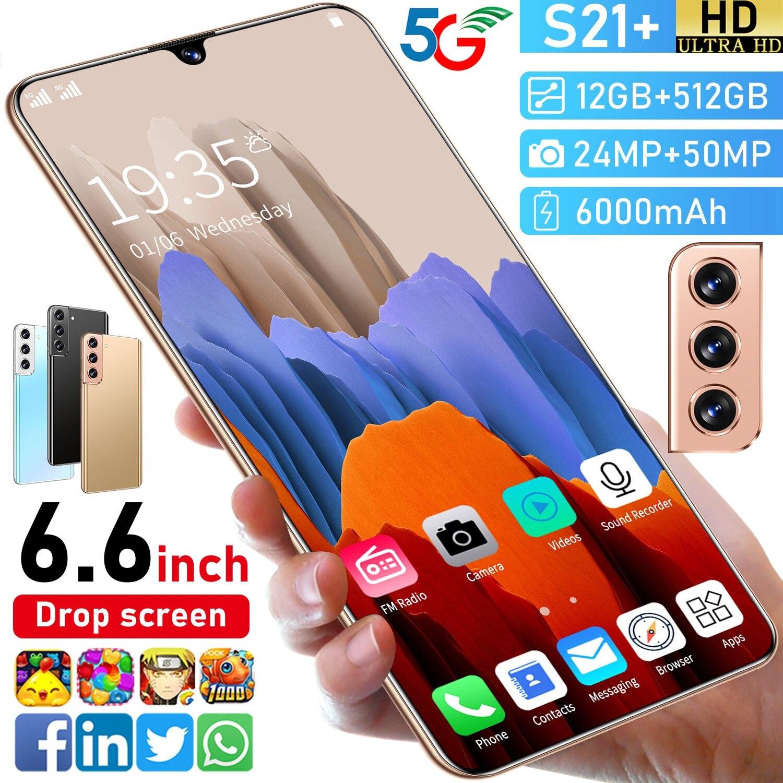 S21 + Andriod 6.6 بوصة إسقاط الشاشة 10 الأساسية الوجه هاتف محمول بصمة معرف 6000mah Mtk6889 نظام تحديد المواقع 5g الضغط على زر الهاتف الذكي