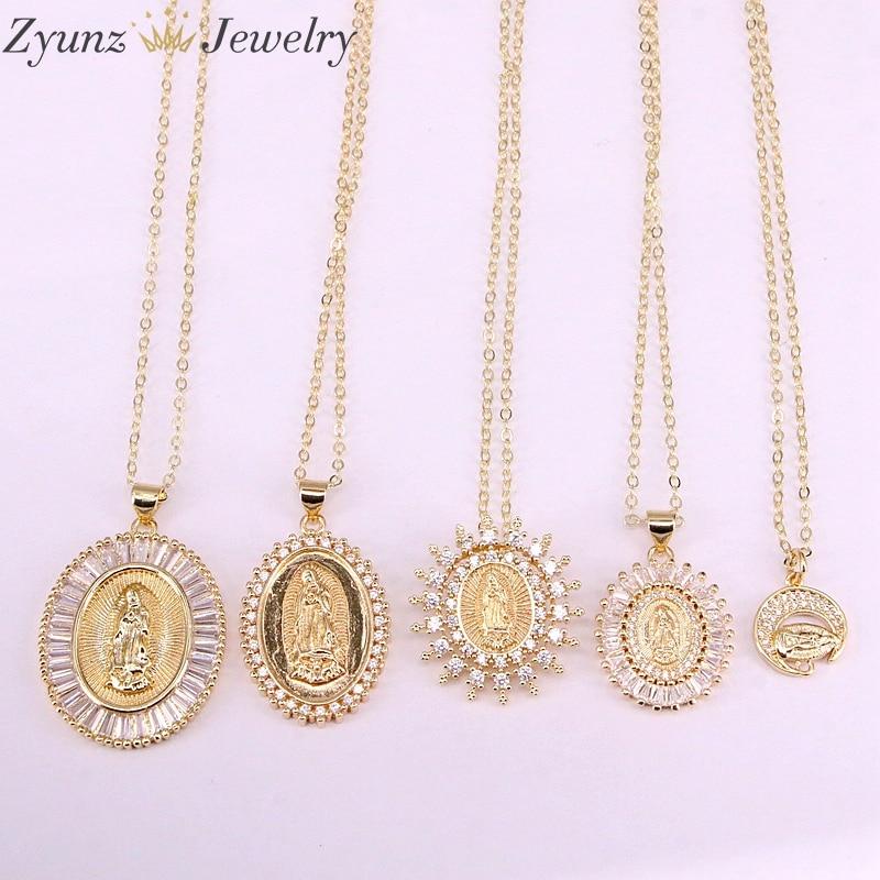 5 uds, collar con colgante de diseño de Jesús/María de la Virgen de Color dorado