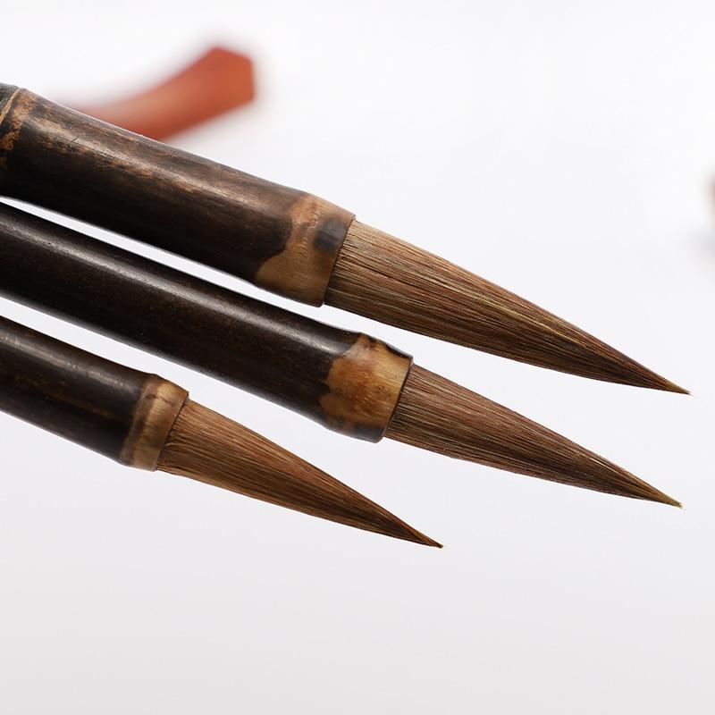 3 uds. Pincel de escritura de pelo de lobo chino pincel de caligrafía para dibujo y caligrafía pintura a mano libre estudiantes de arte papelería