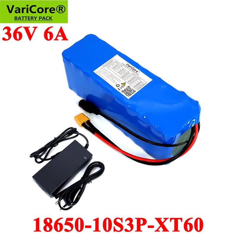 VariCore-بطارية ليثيوم 36 فولت 6 أمبير مع BMS 18650 10S3P متكامل ، للدراجة الكهربائية مع شاحن 42 فولت 2 أمبير