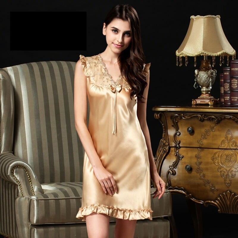 Camisas de Noite de Seda e Dormirshirts Dormir Lounge Feminino Verão 100% Mulher S289 &