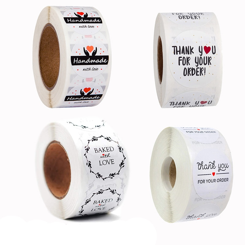 500pcs/roll Handmade Sticker Round Stationery thank you for your order Gift Children Seal Labels Thank You Stickers 500pcs pack thank you stickers gloss stickers round stationery thank you for your order seal labels thank you sticker