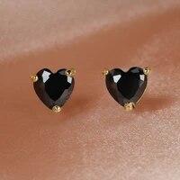 classic cute 6mm black heart stud earrings for women girls 14k gold plated zircon earrings simple design girls birthday gift