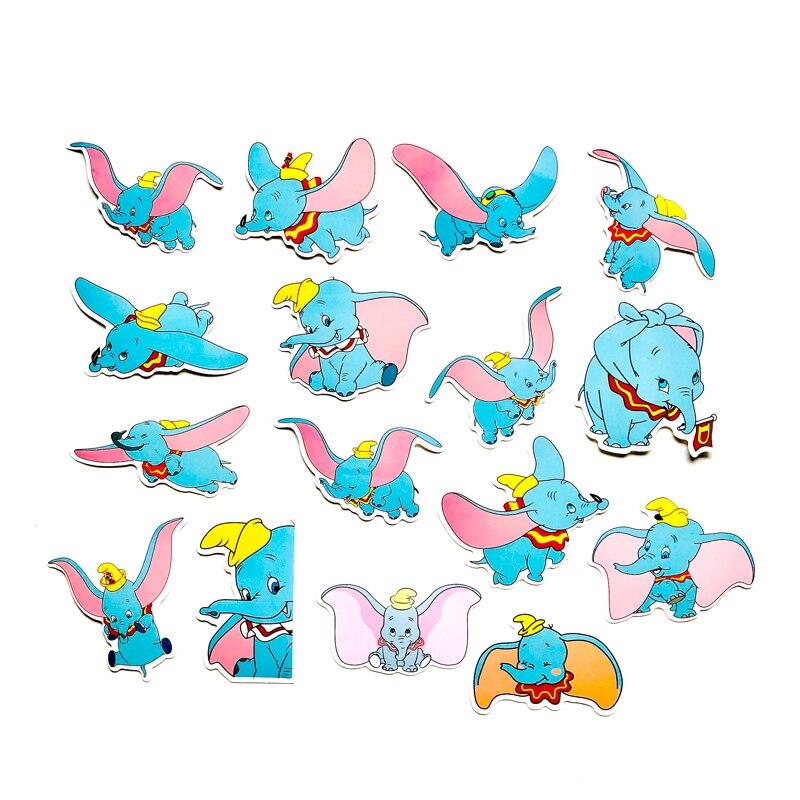 16 unids/lote superior de dibujos animados lindo anime Dumbo elefante China pegatinas maleta portátil regalos de los niños de la etiqueta engomada
