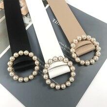 Plus Size Corset Belt Ladies Waist Cinturon Mujer Designer Belts For Women Pearl Buckle No Pin PU Le