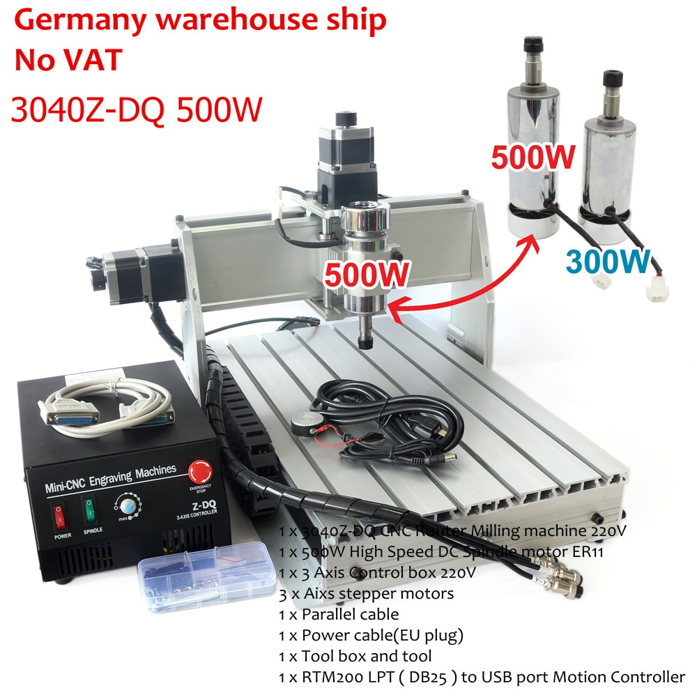 Entrega en UE NO VAT escritorio 3 ejes USB Mach3 500W 3040Z-DQ tornillo de bola 3040 CNC Router grabadora máquina de corte
