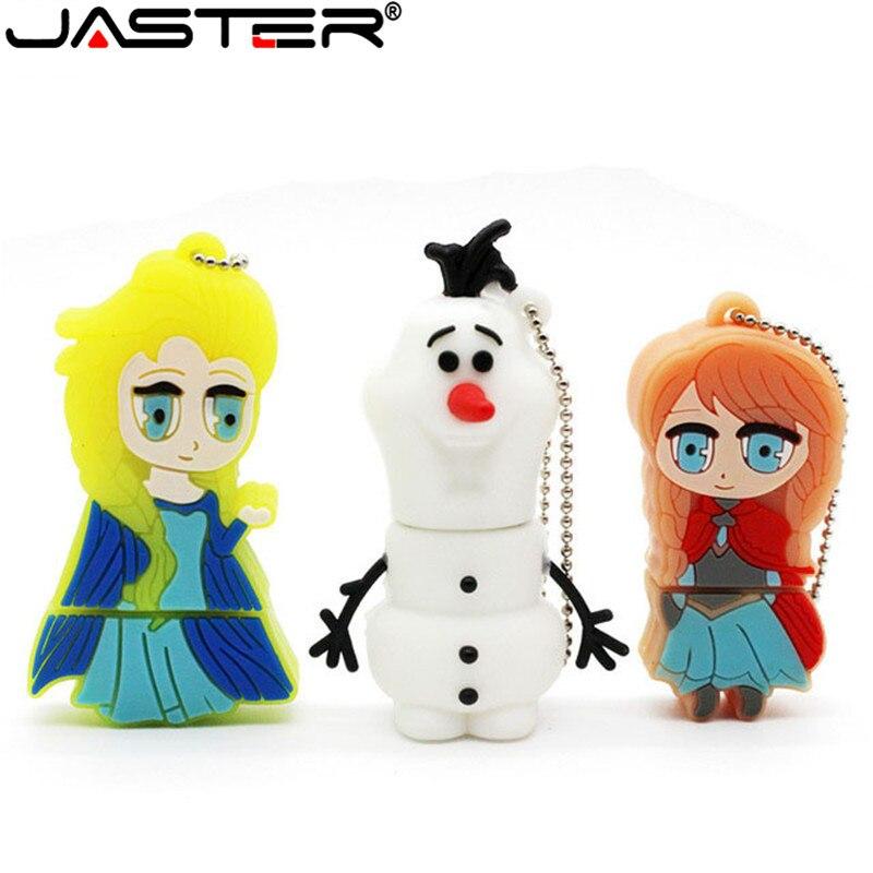 JASTER мультфильм снеговик USB флэш-накопитель Анна, Эльза, Олаф ручка драйвер принцесса куклы память OEM Stick 8/16/32/64GB Флешка горячая распродажа
