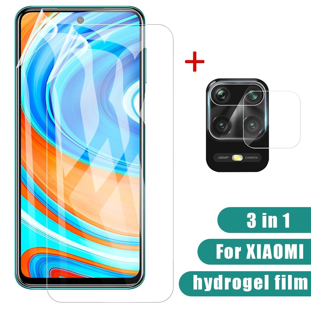 3-in-1 Camera + Hydrogel Film For Xiaomi Redmi Note 9s 9 Pro Max Screen Protector Film For Note9 Not