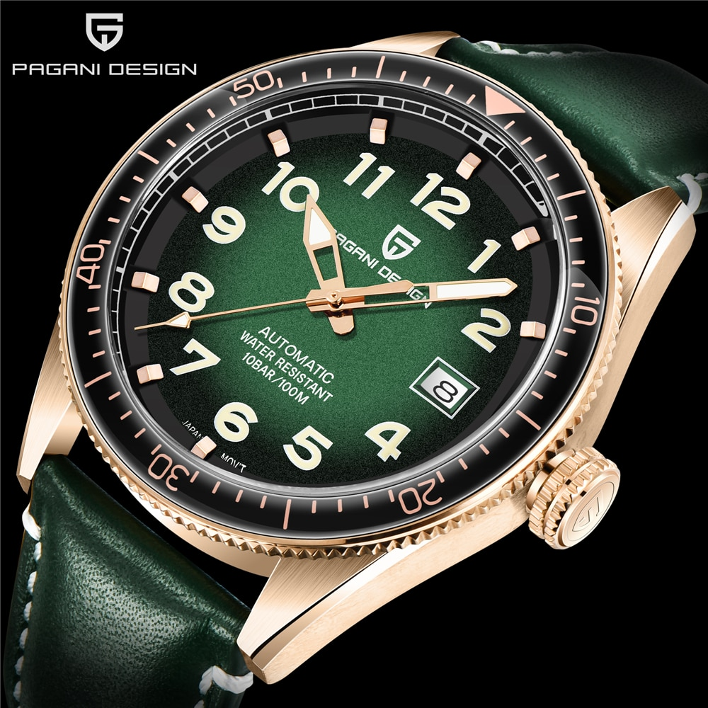 ¡Novedad de 2020! Reloj de hombre de moda con diseño de PDGANI, reloj mecánico automático de cuero impermeable de 100M, relojes deportivos informales