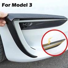 Carbon fibre Front Fog Lamp Eyebrow Wind Knife decoration frame For Tesla Model 3 Protection cover strip modification
