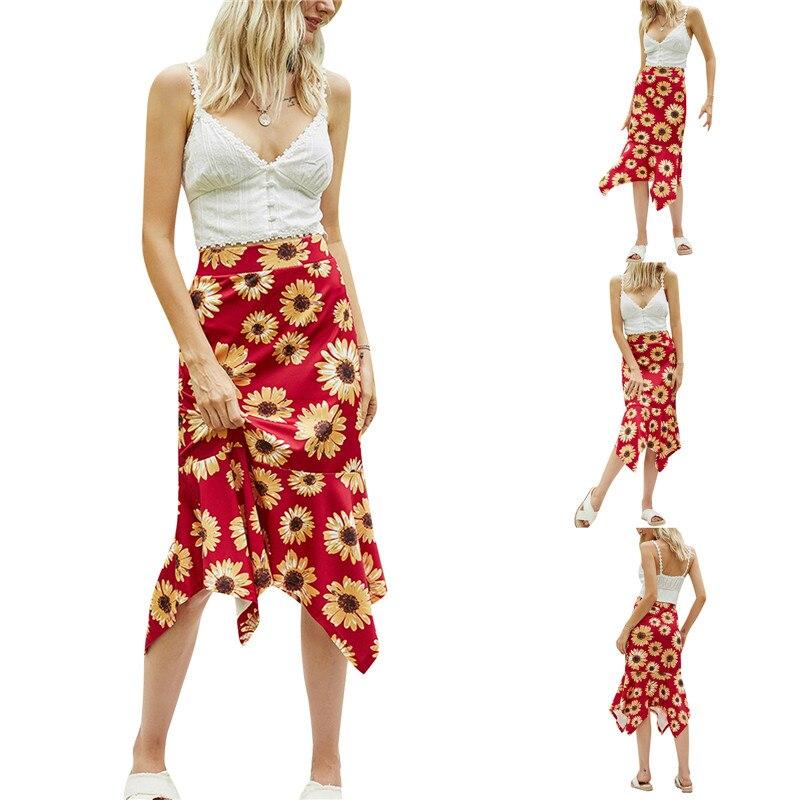 sequined high low hem fish tail skirt Women Sunflower Print Ruffle Hem Skirt High Waist Design Droopy Summer Skirt Slim Wrap Hip Skirt Bodycon
