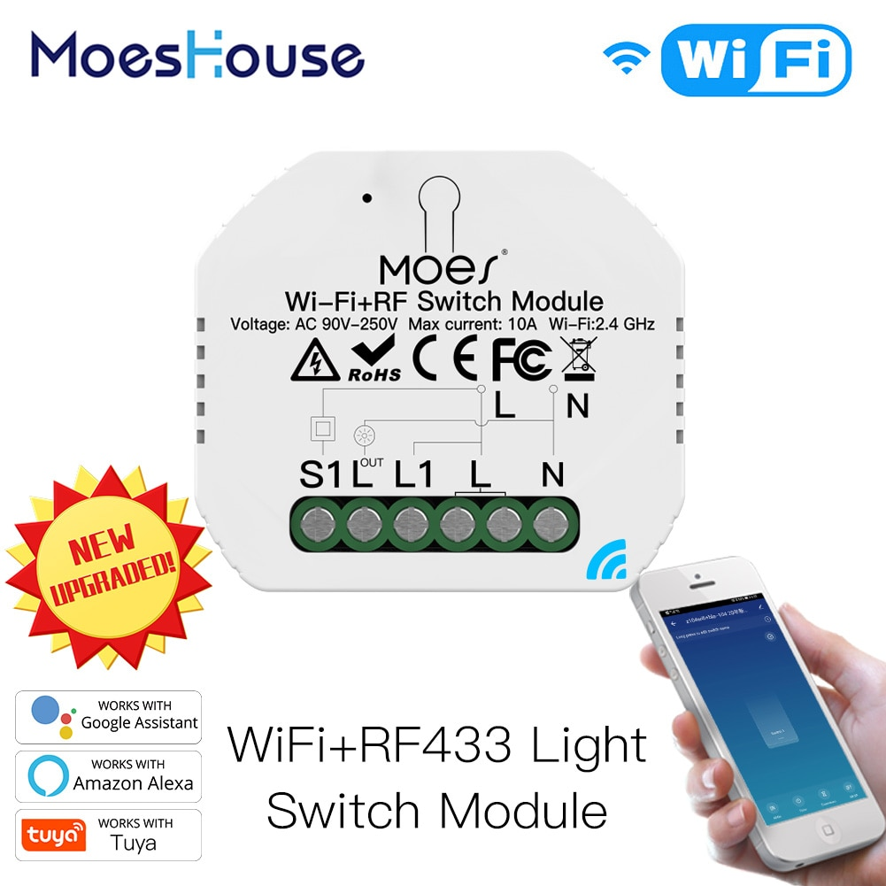 Mini commutateur relais intelligent WiFi RF433, 1 bouton, 1/2 voies, bricolage, Module commutateur relais intelligent Life/Tuya, commande avec Alexa Google Home