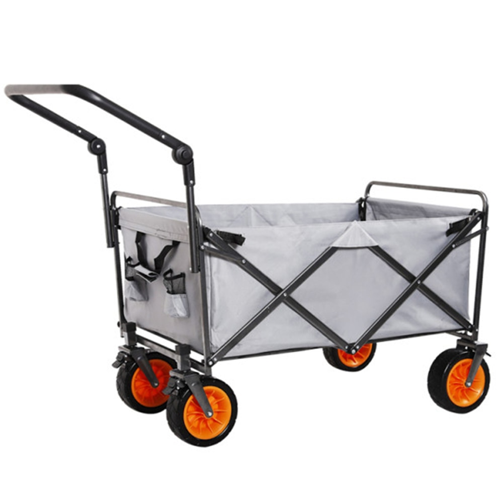 Foldable Beach Wagon Cart Collapsible Rubber Wheels Heavy Duty Utility Wagon All Terrain Outdoor Camping Garden Grocery