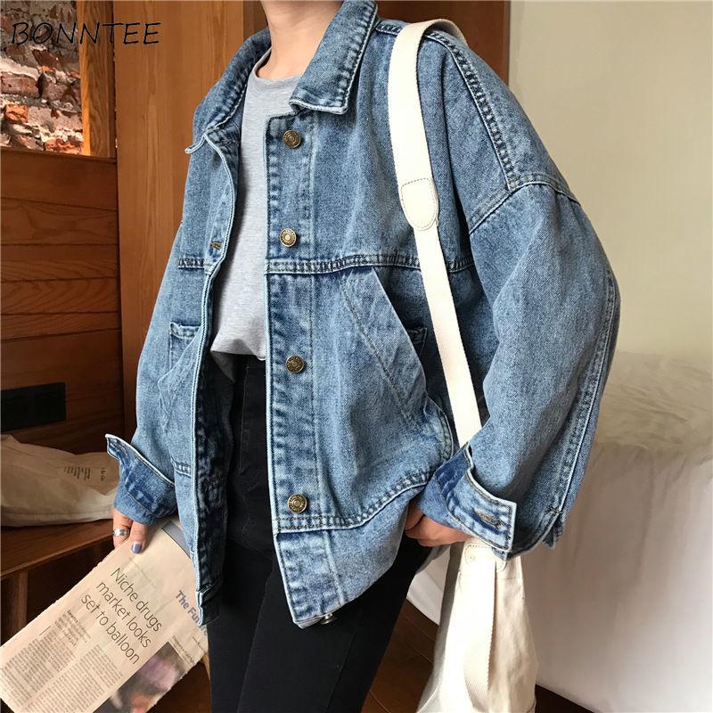 Basic Jackets Women Vintage Simple Spring Chic Denim Korean College Style Girls Jacket Stylish Turn-