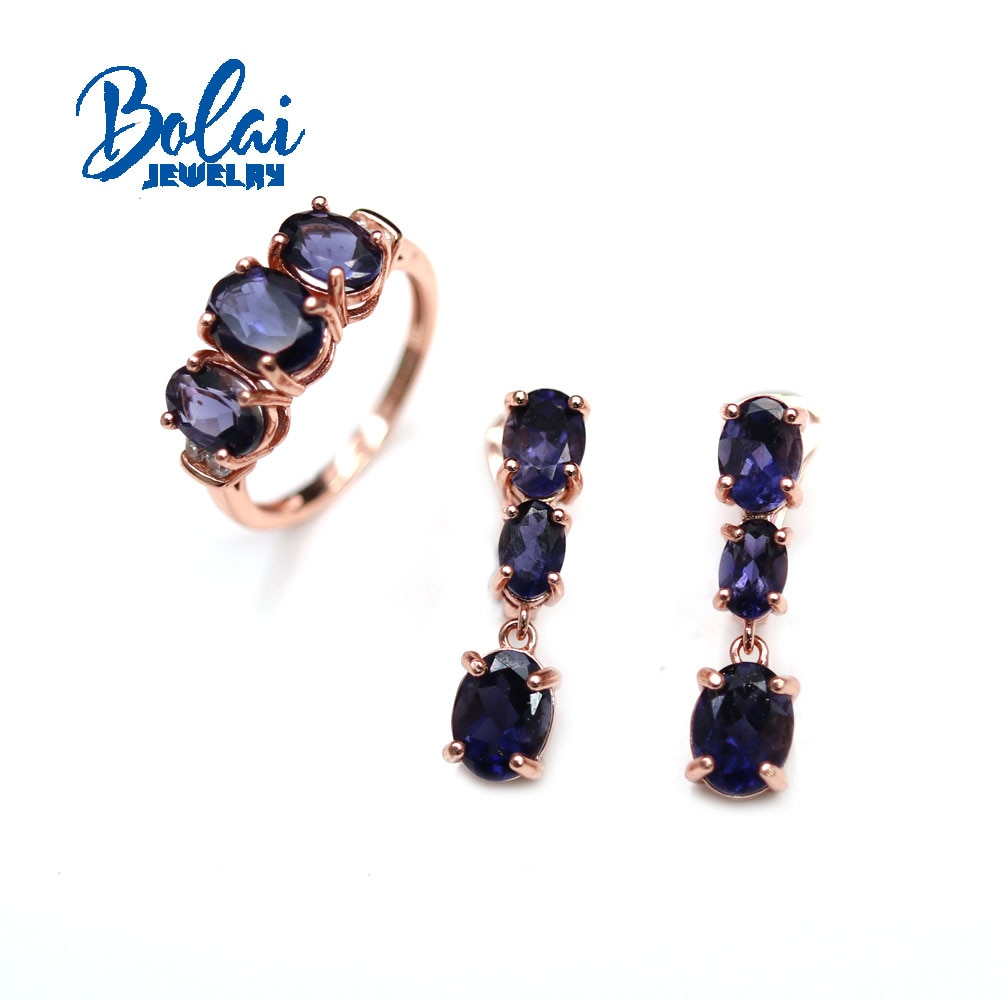 Get 2021 New Natural Iolite gemstone ring earring jewelry set contracted fashion suits daily wear female Fine jewelry