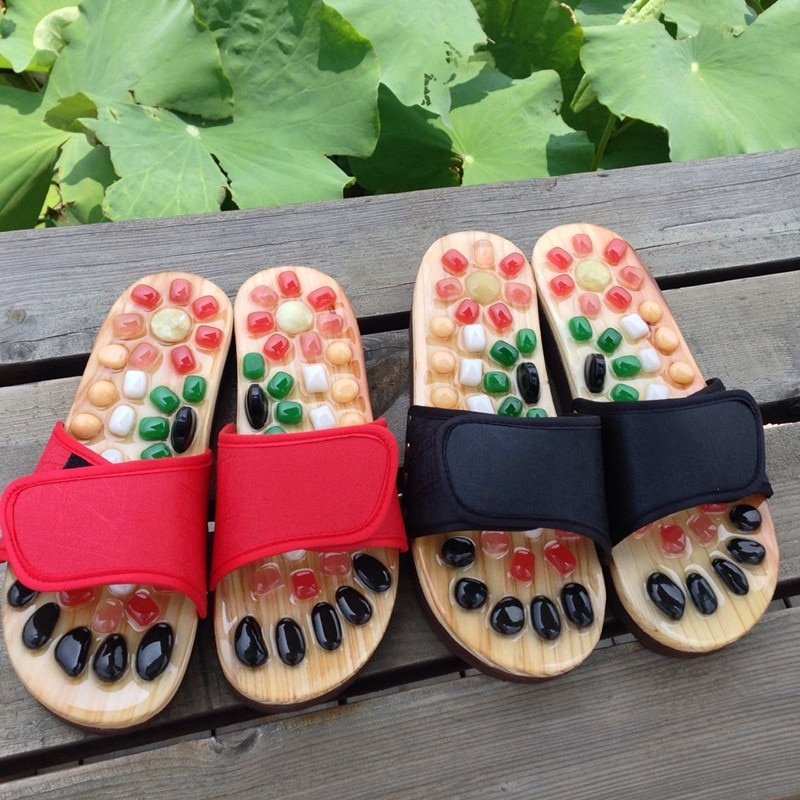 Newly Natural Pebble Stone Foot Massager Slippers Reflexology Care Blood Activating Acupuncture Point Massage Shoes