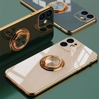 luxury plating silicone case for iphone 12 11 pro xs max mini se x xr 7 8 plus plain metal ring holder stand soft phone cover
